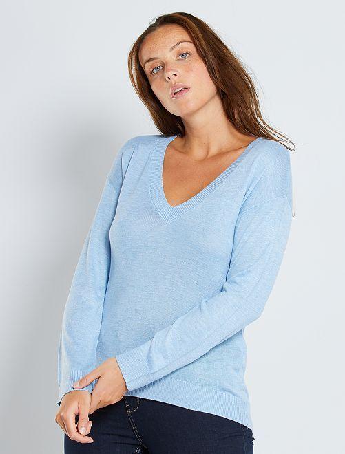 Pullover oversize collo a V                                                                                                                                                                                                                 BLU