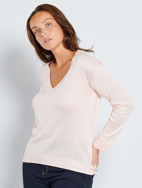 Pullover oversize collo a V                                                                                                                                                                                                                 rosa chiaro