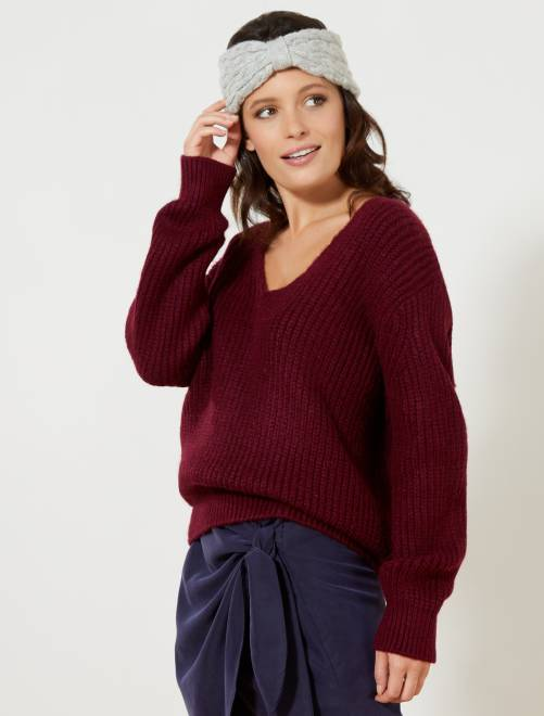 Pullover oversize maglia grossa marrone mogano Donna