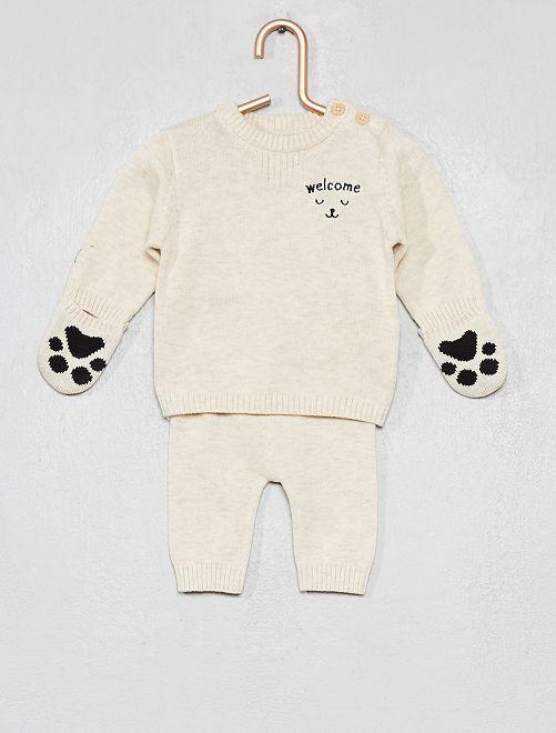 Pullover + pantaloni cotone bio                             BEIGE Neonato