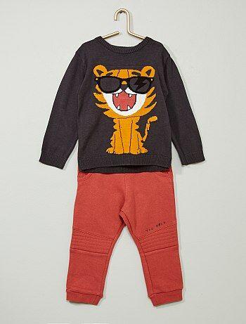 Pullover + pantaloni tessuto felpato - Kiabi