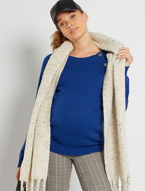 Pullover per l'allattamento in maglia grossa                                         blu