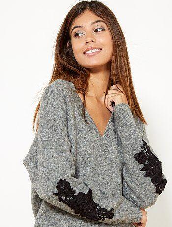 Pullover ricamato con lana - Kiabi