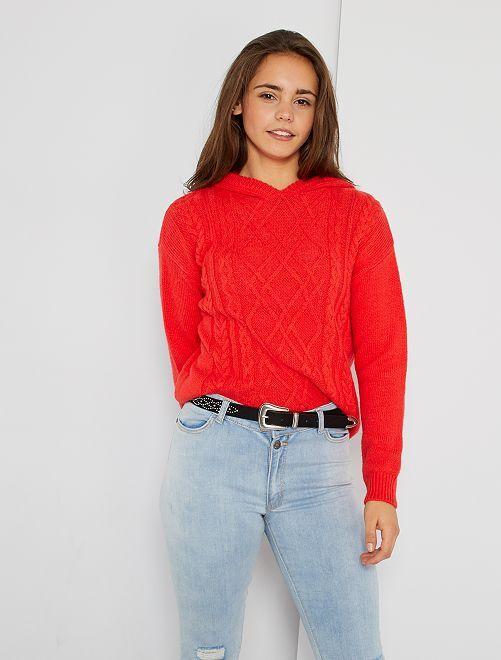 Pullover rosso con cappuccio                             ROSSO