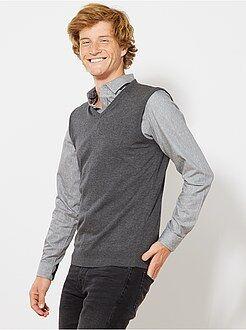 Maglioni, golfini - Pullover senza maniche collo V maglina