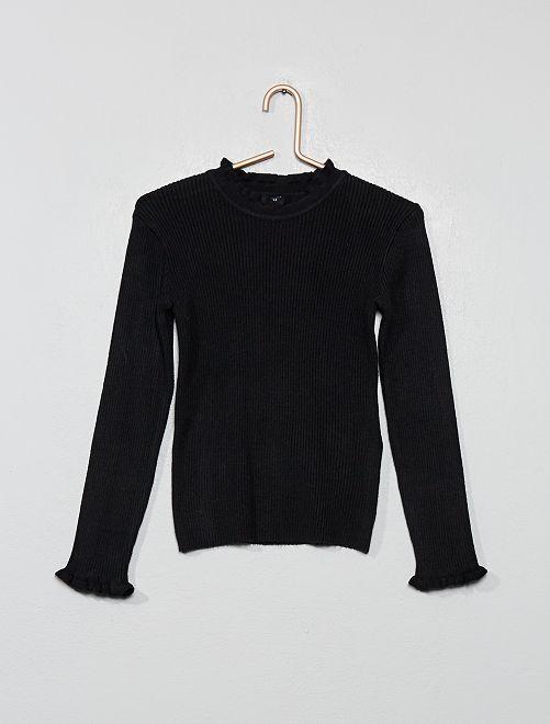 Pullover sottile a coste                                                     nero