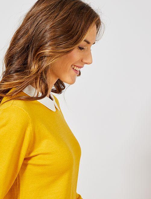 Pullover sottile collo alla collegiale                                                                             giallo bronzo