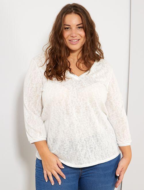 Pullover sottile effetto lino                             bianco