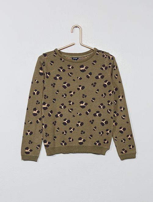 Pullover sottile 'leopardo'                                                                             KAKI Infanzia bambina