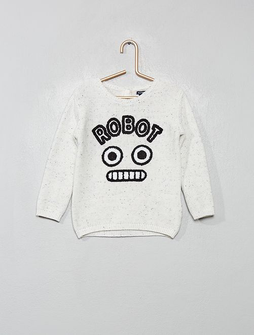 Pullover stampa 'robot'                             BIANCO