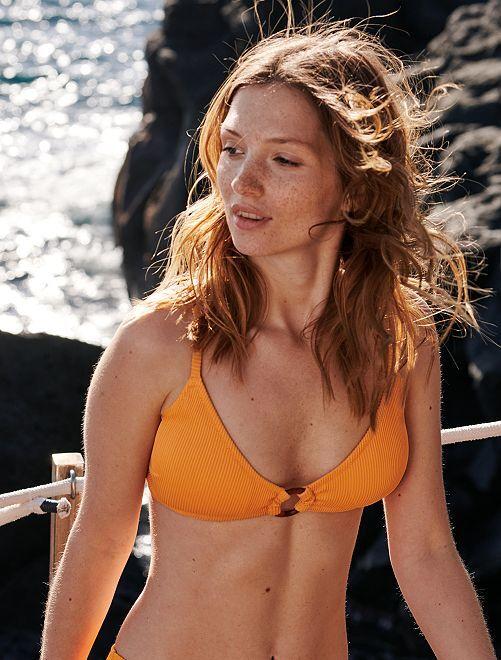 Reggiseno bikini triangolo volant                                                                 albicocca Donna