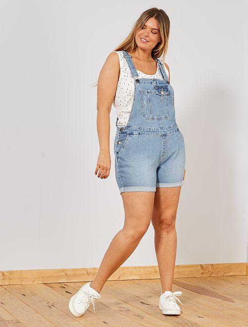 Salopette pantaloncini jeans                                         BLU Taglie forti donna