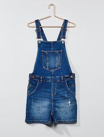 Salopette pantaloncini jeans destroy - Kiabi