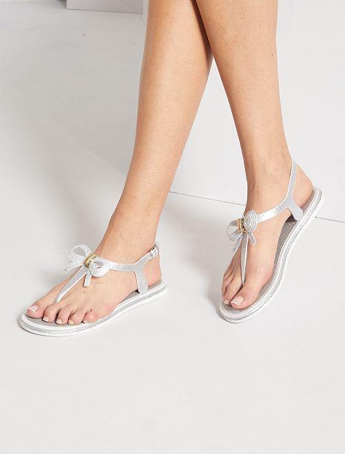 Sandali bassi con paillettes                                         argento