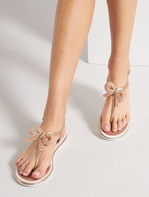 Sandali bassi con paillettes                                         ROSA