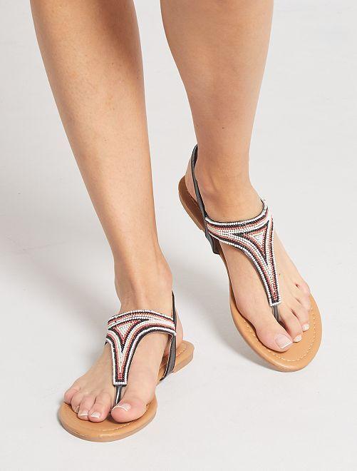Sandali bassi con perle                                         nero