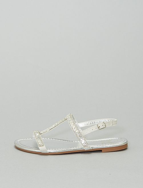 Sandali bassi con strass                             argento
