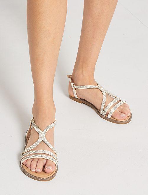 Sandali bassi con strass                             bianco