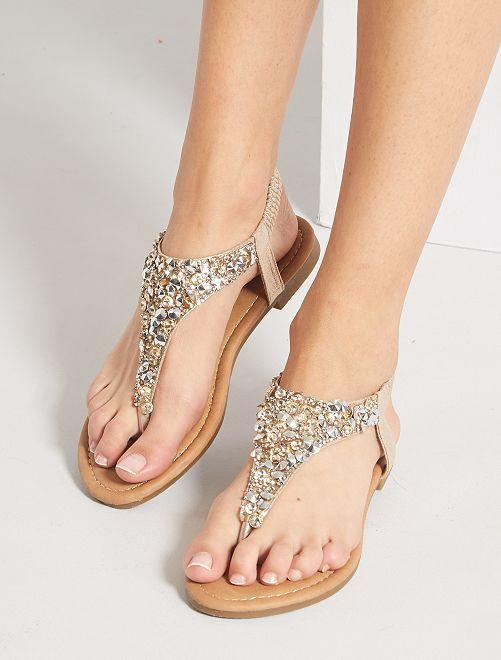Sandali bassi con strass                             dorato