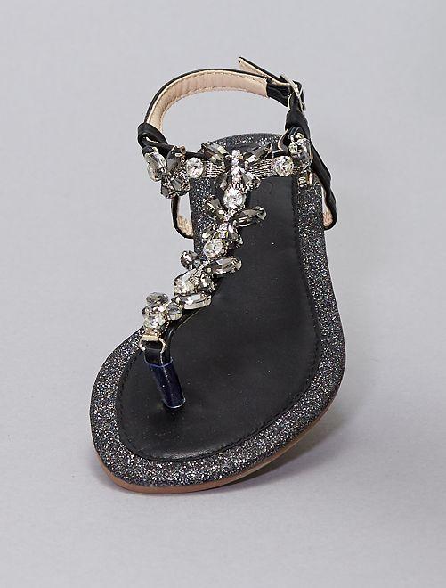 Sandali bassi con strass e ciondoli                             nero