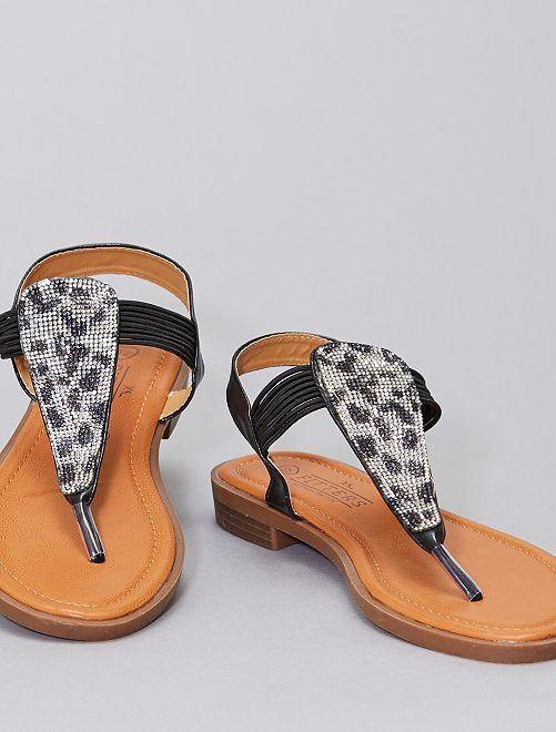 Sandali bassi con strass nei numeri alti -                             nero