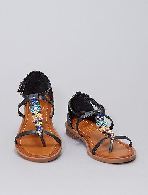 Sandali bassi con strass nei numeri alti                             nero