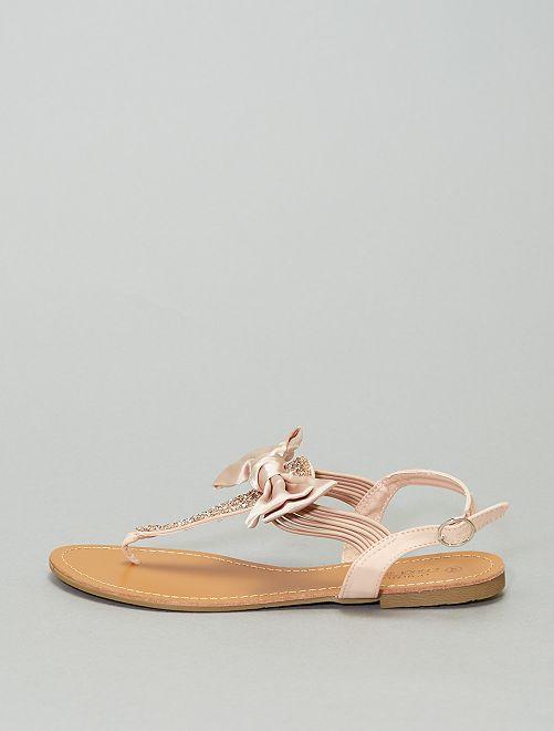 Sandali bassi con strass                             rosa