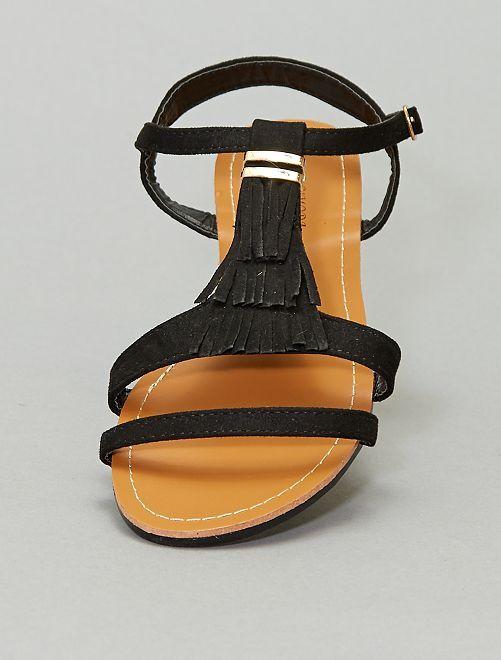 Sandali bassi in finto camoscio                                         nero