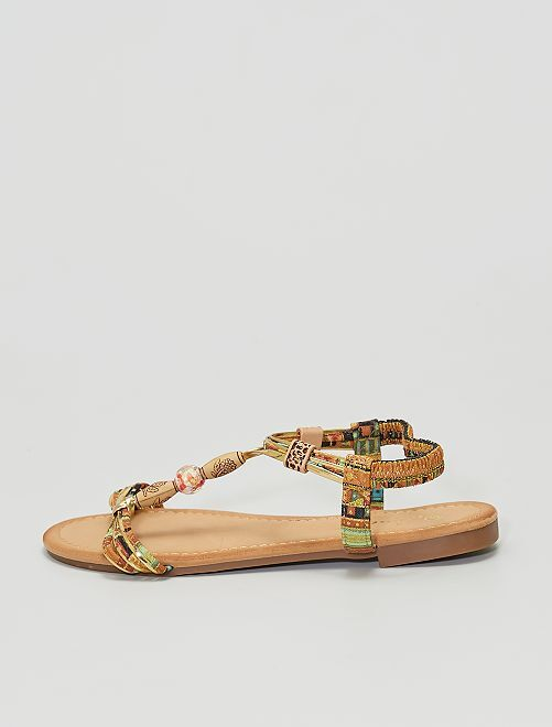 Sandali bassi in tessuto e perle                             MARRONE