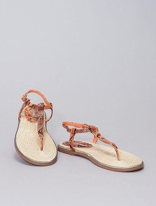 Sandali bassi stampa 'squame'                             arancione
