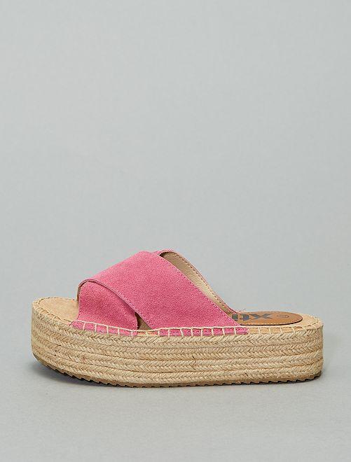 Sandali ciabattine in pelle 'Xti'                                                                 fucsia