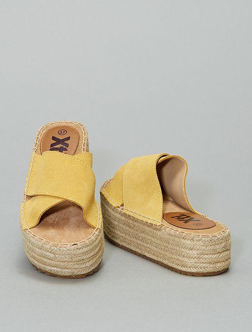 Sandali ciabattine in pelle 'Xti'                                                                 GIALLO