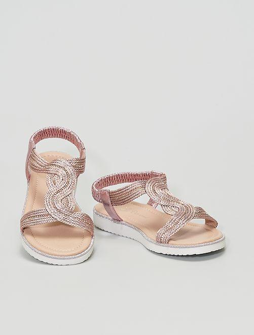Sandali color rame con strass                             ROSA
