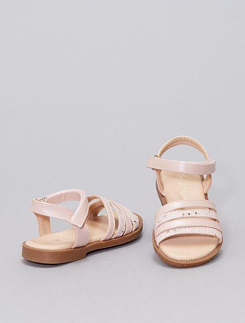 Sandali con cinturini con paillettes                             ROSA