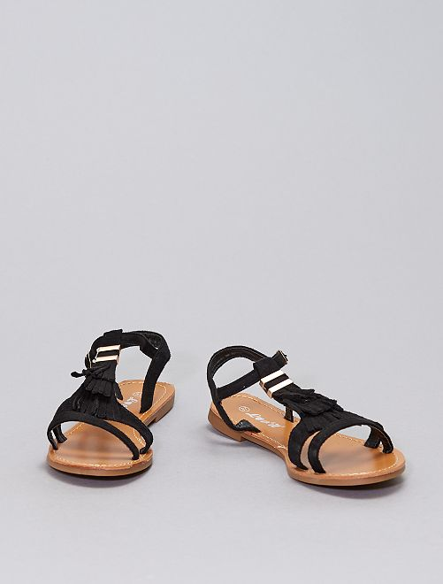 Sandali con frange                                                     nero