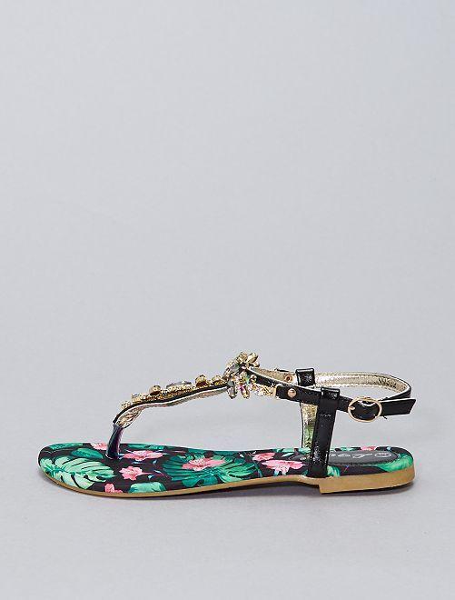 Sandali con gioielli fantasia                             nero