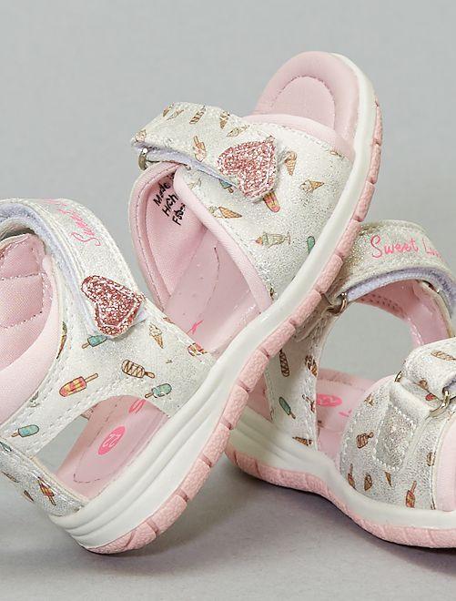 Sandali con strappi stampati 'gelati'                             bianco