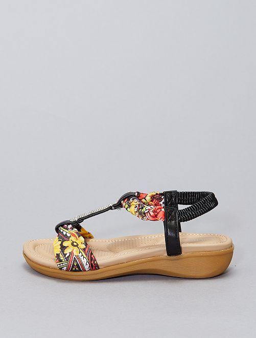 Sandali con strass e fiori                             nero