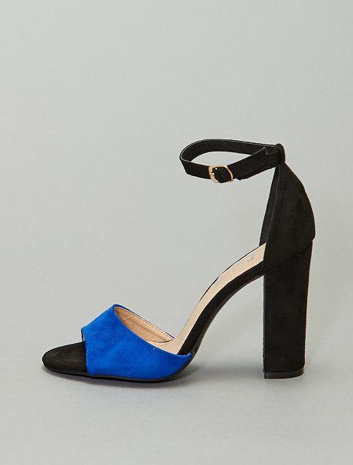 Sandali con tacco bicolore                                         blu
