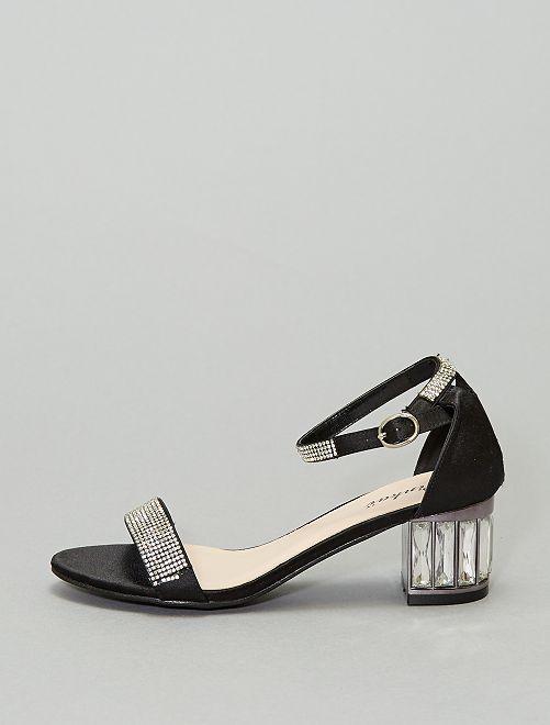 Sandali con tacco e strass                             nero