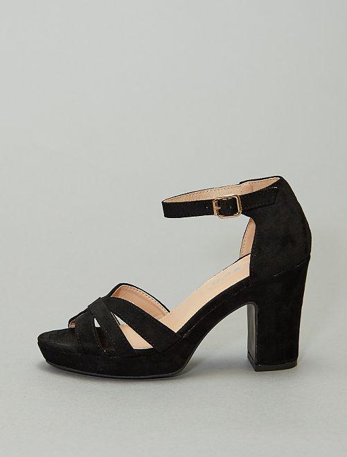 Sandali con tacco in tessuto                                         nero