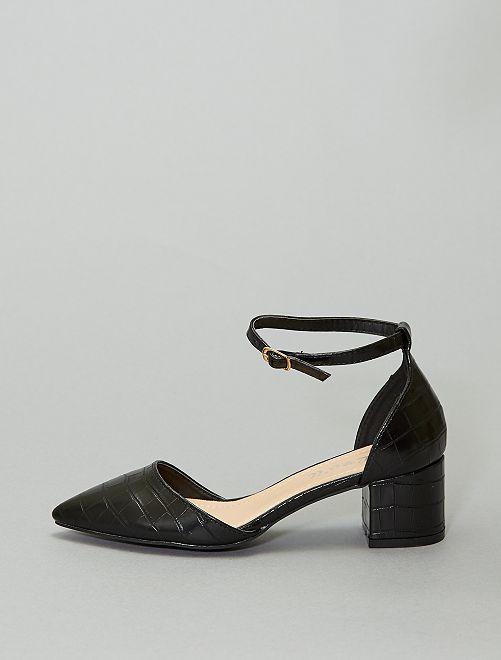 Sandali con tacco texture effetto 'tartaruga'                             nero