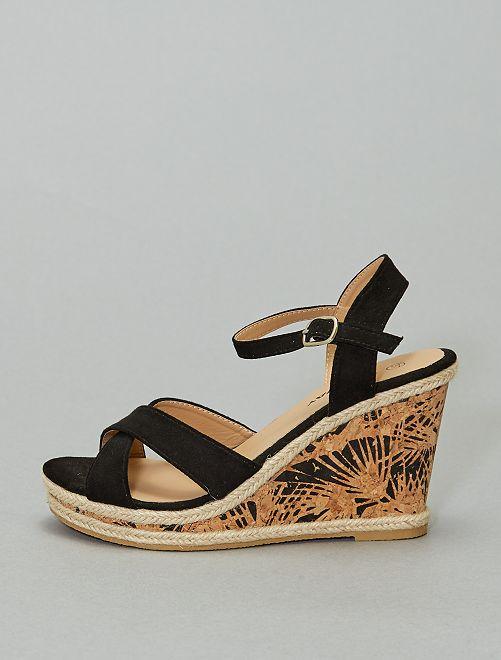 Sandali con zeppa stampata                             nero
