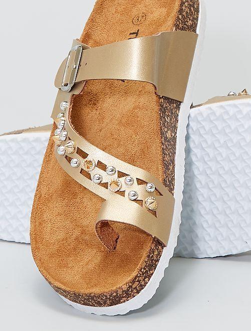 Sandali dorati con gioielli                             dorato