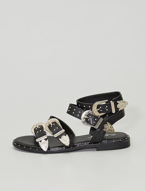 Sandali fibbie western                             nero