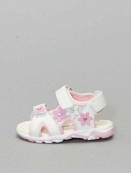 Sandali fiori similpelle                             bianco