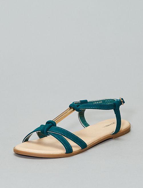 Sandali gioiello effetto scamosciato                                         verde