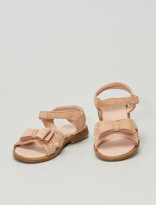Sandali in finto camoscio con paillettes                             beige scuro