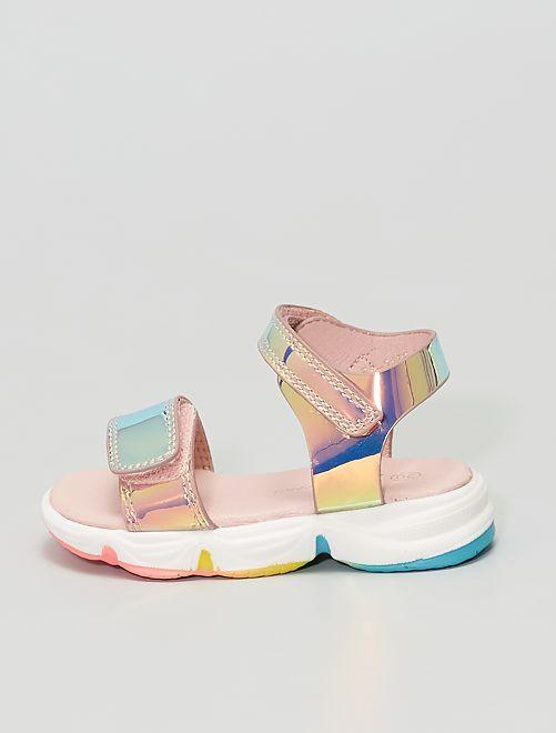 Sandali in similpelle colore olografico                             ROSA