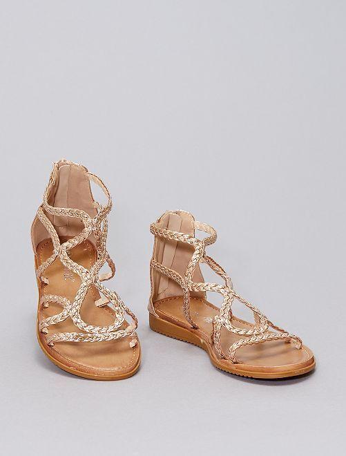 Sandali intrecciati cangianti                             beige scuro
